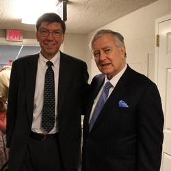 Clayton Christensen, left, a former area Seventy for the LDS Church, performed the baptism of Sen. Larry Pressler, who served three terms in the U.S. Senate from 1979-1996 for the state of South Dakota. The baptism took place in Chevy Chase, Maryland, on Sunday, April 19, 2015.
