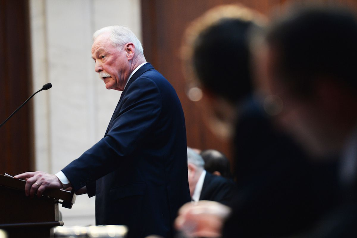 James Lyons, representing the Douglas County School District, speaks during oral arguments at the Colorado Supreme Court in the Douglas County vouchers case. (Photo by RJ Sangosti/The Denver Post)