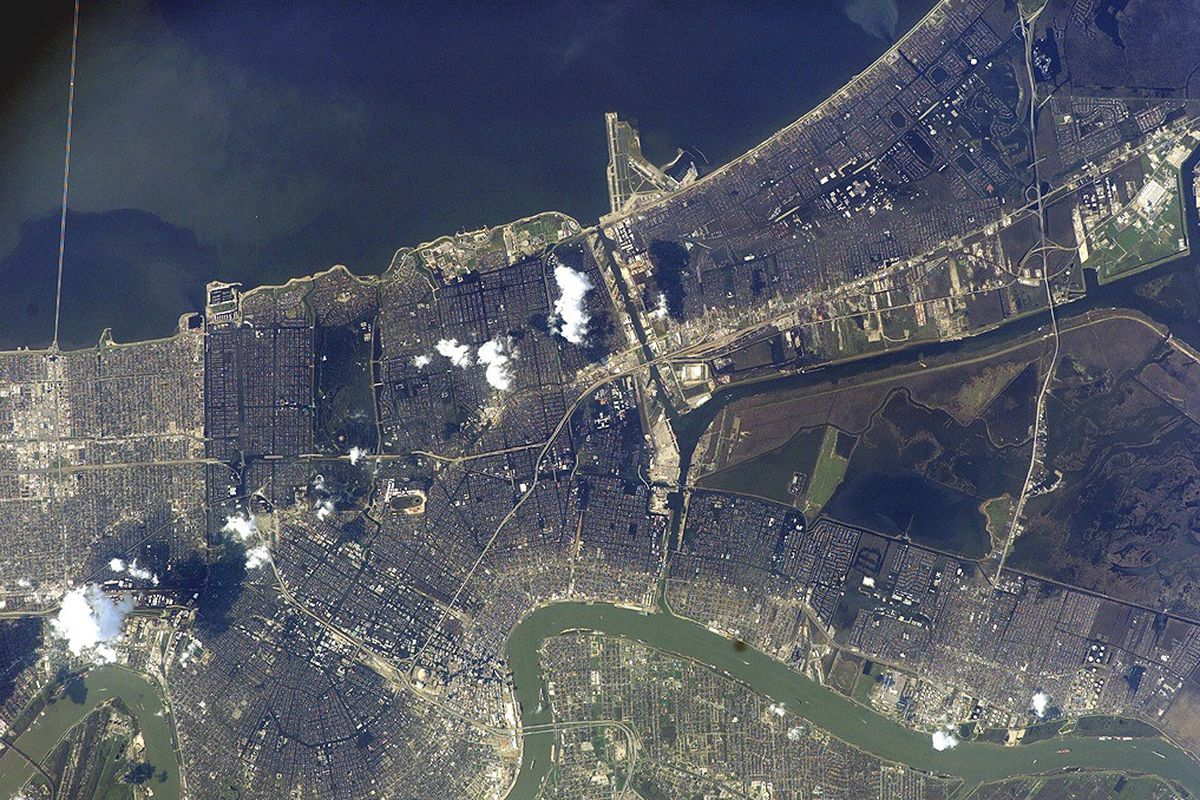 an aerial shot of New Orleans captured by NASA's Marshall Space Flight Center