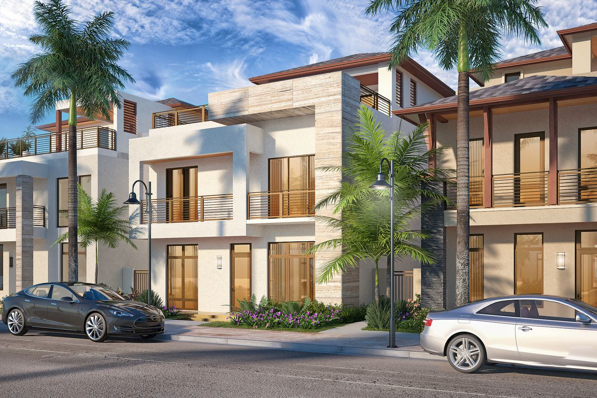 Rendering of Canarias, single-family modern residences in The Residences at Downtown Doral