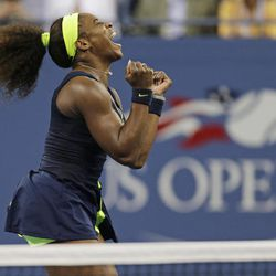 Serena Williams reacts after beating Victoria Azarenka, of Belarus, in the championship match at the 2012 US Open tennis tournament,  Sunday, Sept. 9, 2012, in New York.