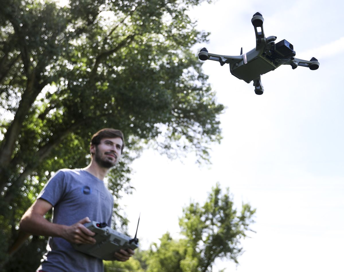 Teal Drones founder George Matus pilots the company's new Golden Eagle drone near the firm's offices in Holladay on Wednesday, Sept. 2, 2020.