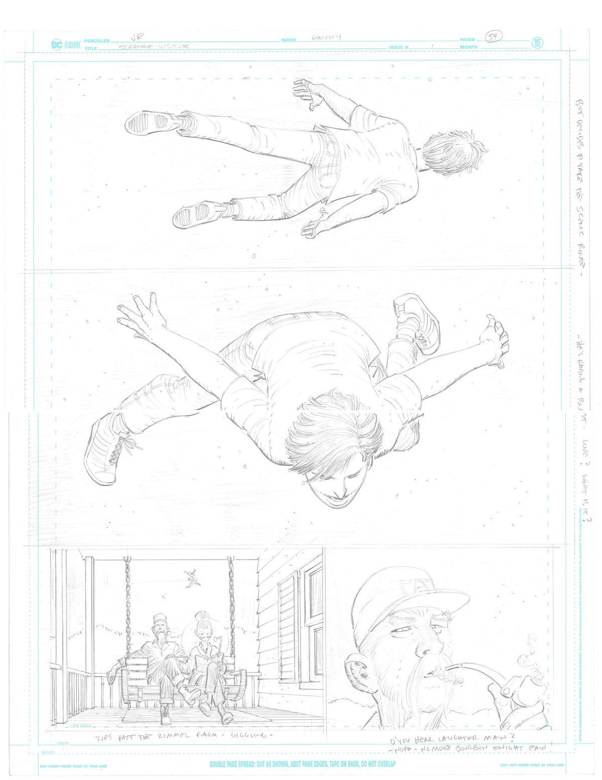 John Romita Jr.'s raw pencils of Clark Kent in Superman: Year One #1, DC Comics (2019).