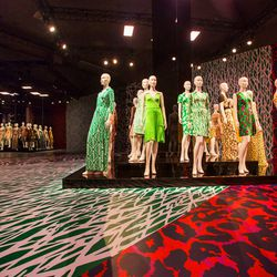 The exhibition's main room features an army of mannequins donning vintage and anniversary wrap dresses.