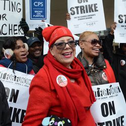 CTU President Karen Lewis with teachers and supporters, on a 1 day strike called by the Chicago Teachers Union at King College Prep. Friday, April 1, 2016.