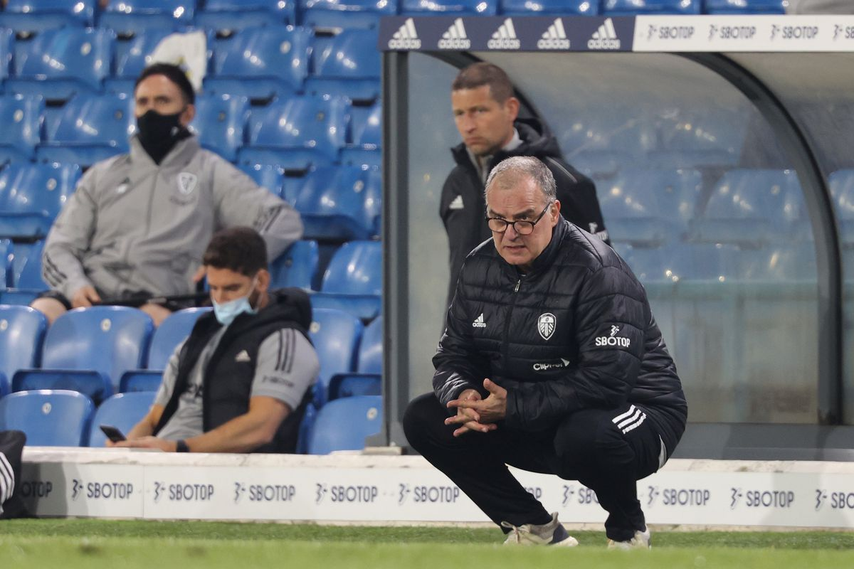 Marcelo Bielsa, Manager of Leeds United reacts during the Premier League match between Leeds United and Liverpool at Elland Road on April 19, 2021 in Leeds, England.