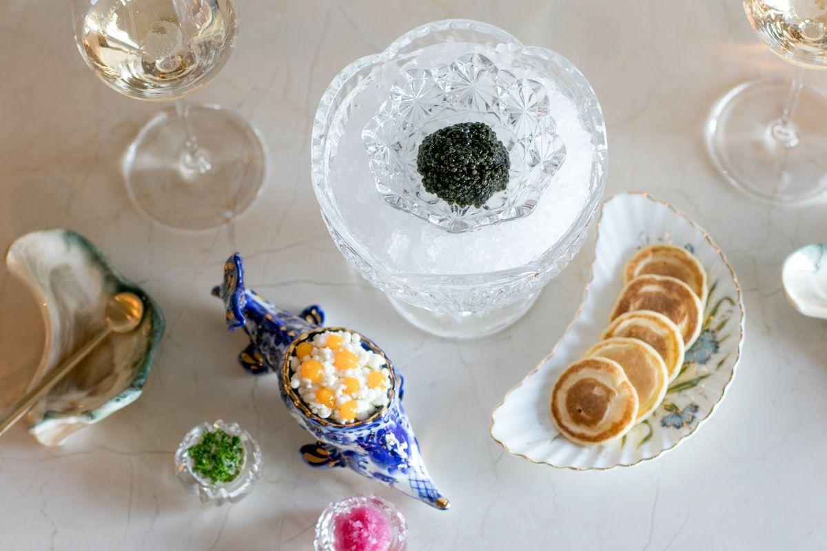 The full caviar service at the Bump Bar