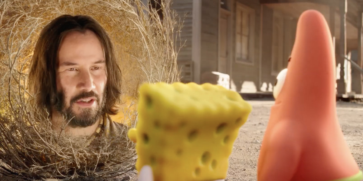 Keanu Reeves' disembodied face stars in the newest SpongeBob movie