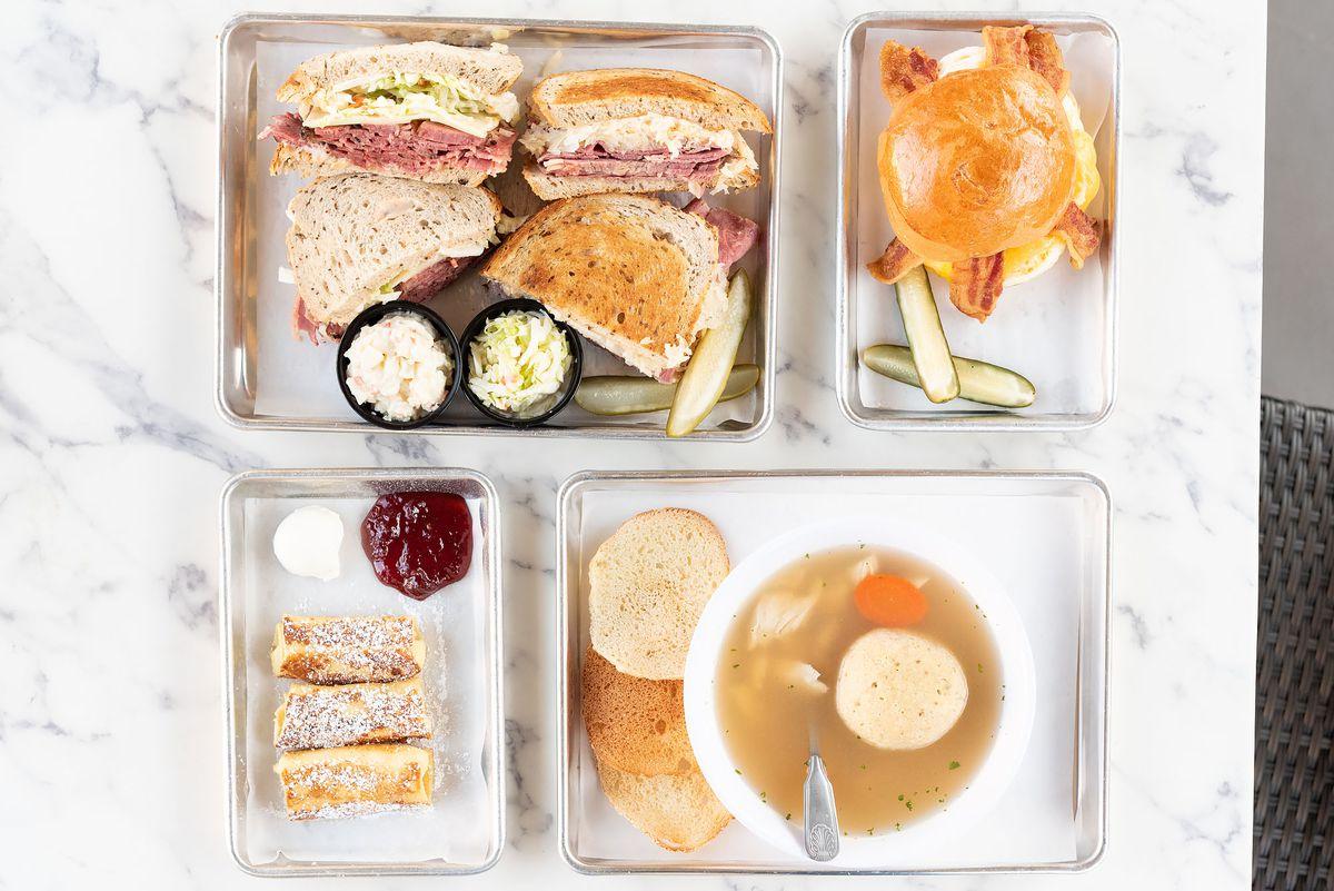Sandwiches, matzoh ball soup, breakfast sandwich, and blintzes at Daughter's Deli