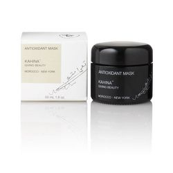 """This mask—loaded with argan oil and rhassoul clay from Morocco—washes off with killer exfoliating power, sucking impurities from the skin and replacing them with nourishing minerals. <b>Kahina Beauty</b> Antioxidant Mark, <a href=""""http://www.bergdorfgoodm"""
