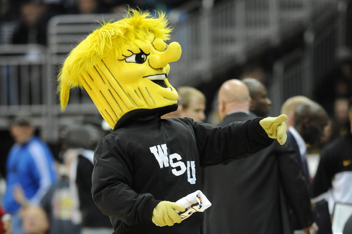 In case you didn't know, WSU's mascot WuShock is a bundle of wheat in a sweatshirt.