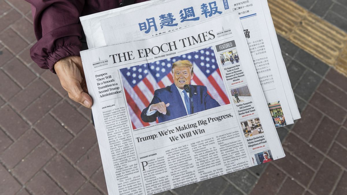 The front page of the Epoch Times newspaper featuring President Donald Trump.
