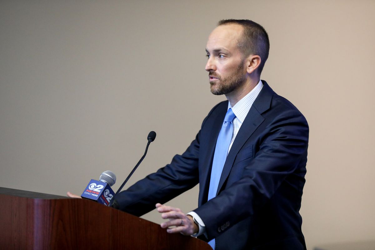 Supervisory Special Agent Casey Harrington speaks at a press conference detailing's the FBI's role in election security at the FBI's field office in Salt Lake City on Thursday, Sept. 17, 2020.