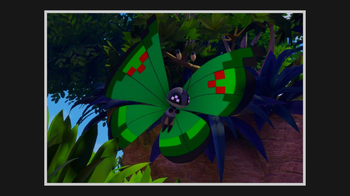 Garden Pattern Vivillon flying out from behind a rock