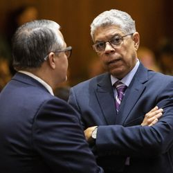Ald. Roberto Maldonado (26th) chats with Ald. Gilbert Villegas (36th) during the Chicago City Council meeting at City Hall, Wednesday, May 29, 2019.