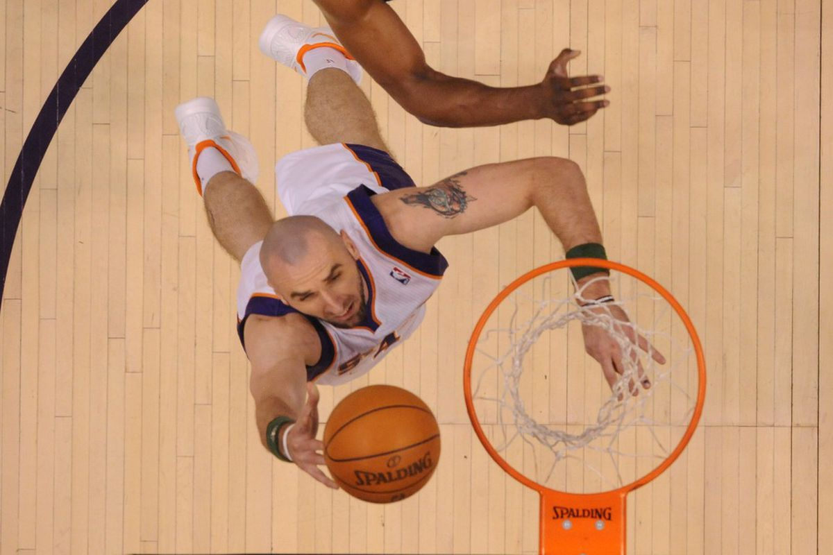 Apr. 7, 2012; Phoenix, AZ, USA; Phoenix Suns center Marcin Gortat takes a shot in the second half against the Los Angeles Lakers at the US Airways Center. The Suns defeated the Lakers 125-105. Mandatory Credit: Mark J. Rebilas-US PRESSWIRE