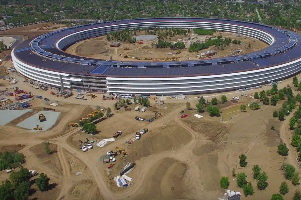 The circular Apple Park building from the air.
