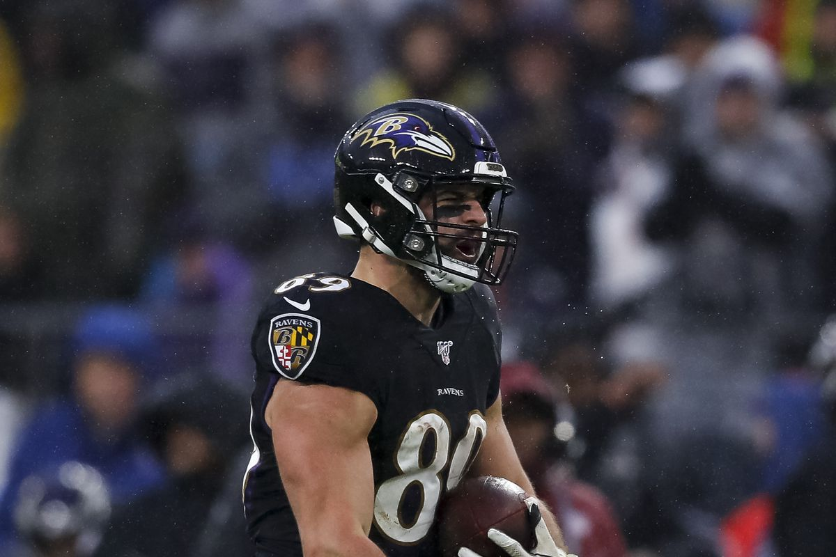 Mark Andrews of the Baltimore Ravens reacts to a play against the San Francisco 49ers during the second half at M&T Bank Stadium on December 1, 2019 in Baltimore, Maryland.