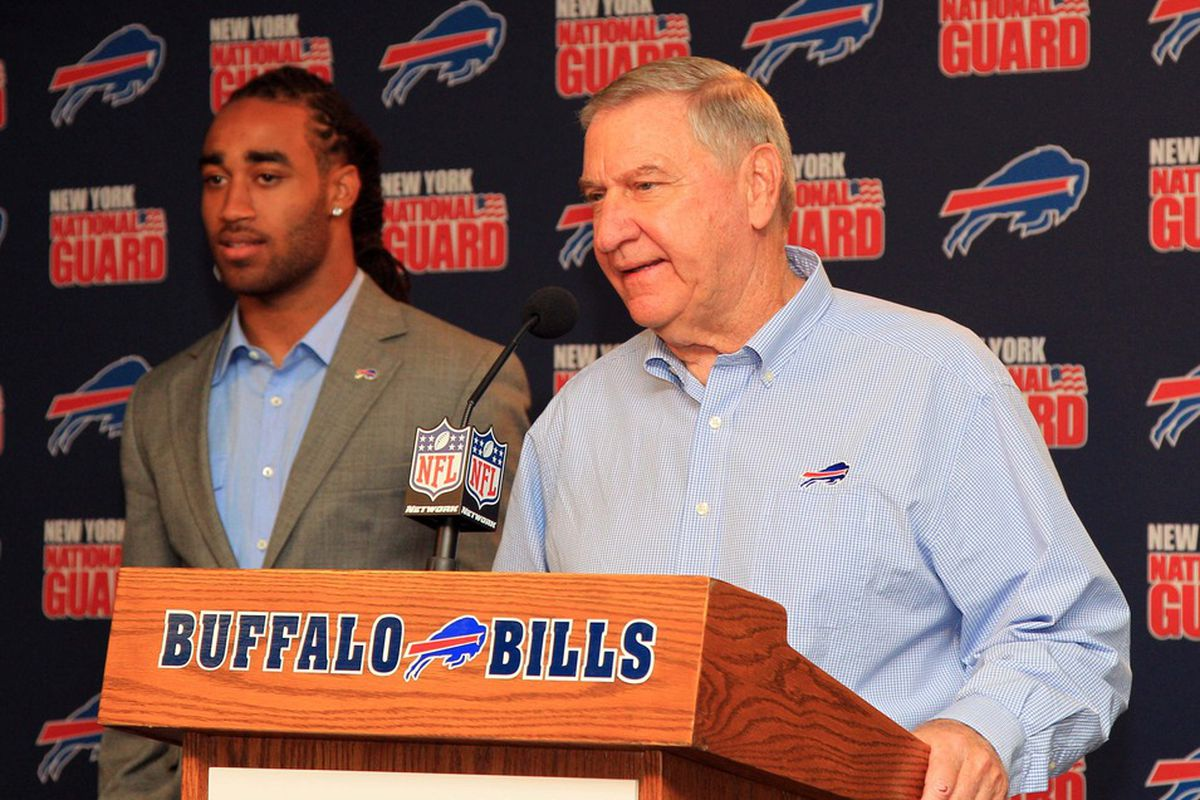 Apr 27, 2012; Orchard Park, NY, USA; Buffalo Bills general manager Buddy Nix introduces first round draft pick cornerback Stephon Gilmore during the press conference at Ralph Wilson Stadium. Mandatory Credit: Kevin Hoffman-US PRESSWIRE