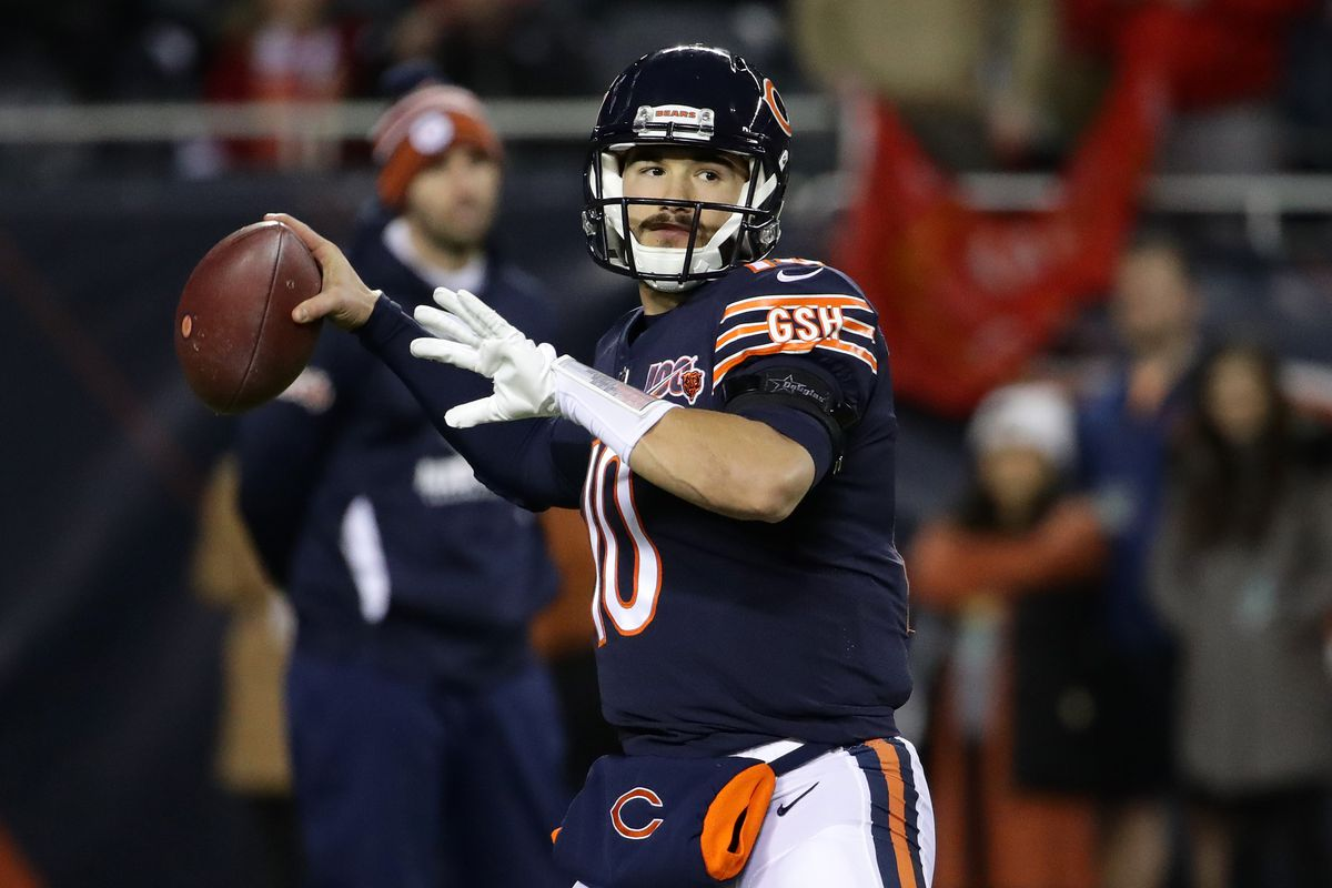 Bears quarterback Mitch Trubisky throws against the Chiefs on Sunday night.