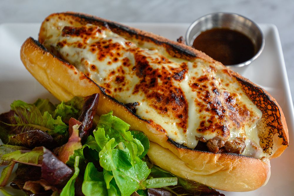 toasted long roll with melted cheese