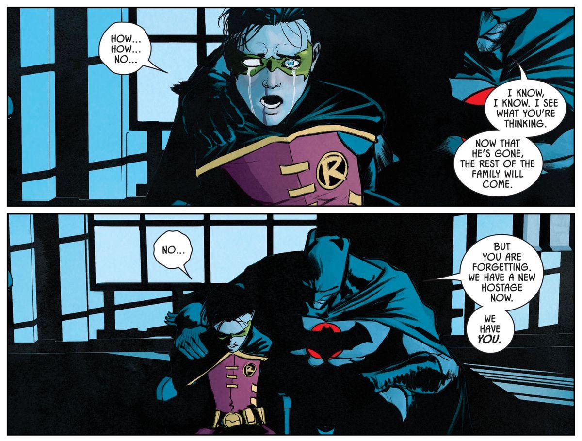 An alternate universe Thomas Wayne/Batman reminds his grandson, Damian Wayne/Robin, that he is now Bane's hostage, in Batman #77, DC Comics (2019).