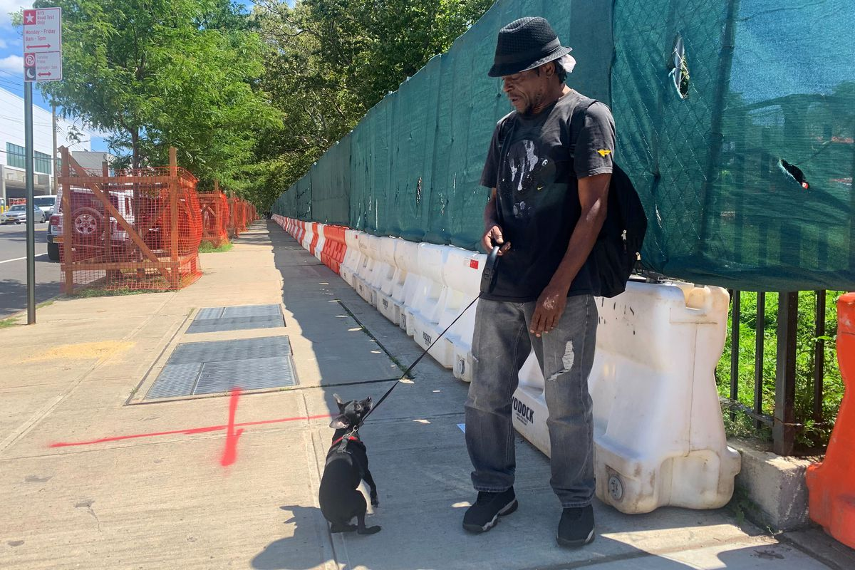 Ivory Mills, a resident of the Red Hook Houses, and his chihuahua, Max, can no longer walk in their local park,  Aug 2nd, 2021