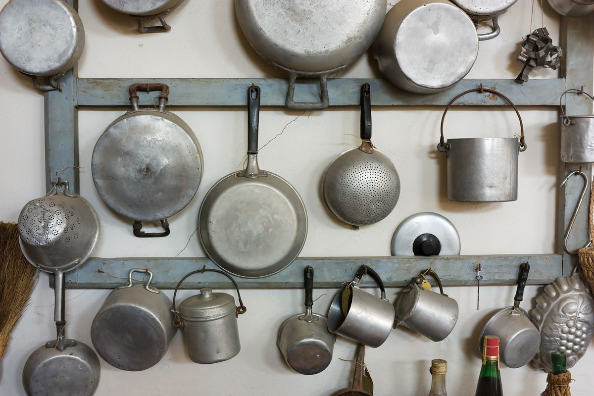 pots and pans hanging on a rack.