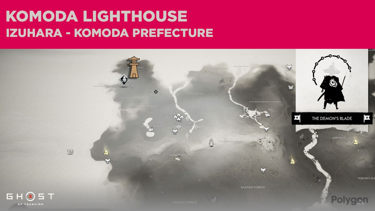 The lighthouse location in Komoda in Ghost of Tsushima