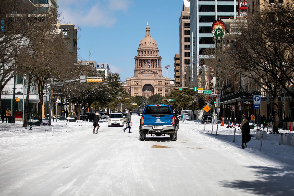 The Texas Capitol is surrounded by snow on February 15 in Austin, Texas.