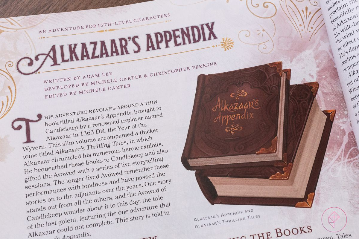 A look at one of the chapters, titled Alkazaar's Appendix. A picture of the book in question accompanies the text.
