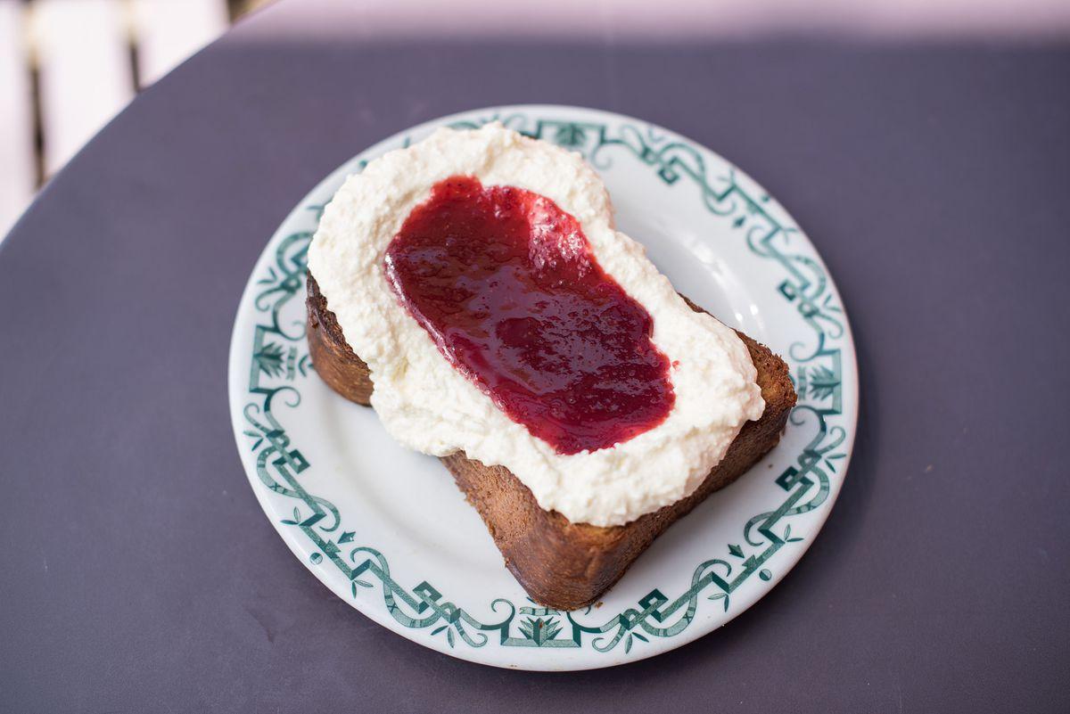 Ricotta toast with jam at Sqirl
