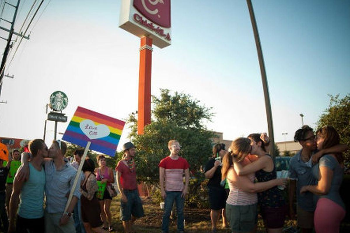 Protesters at a Chick-fil-A in Austin, Texas