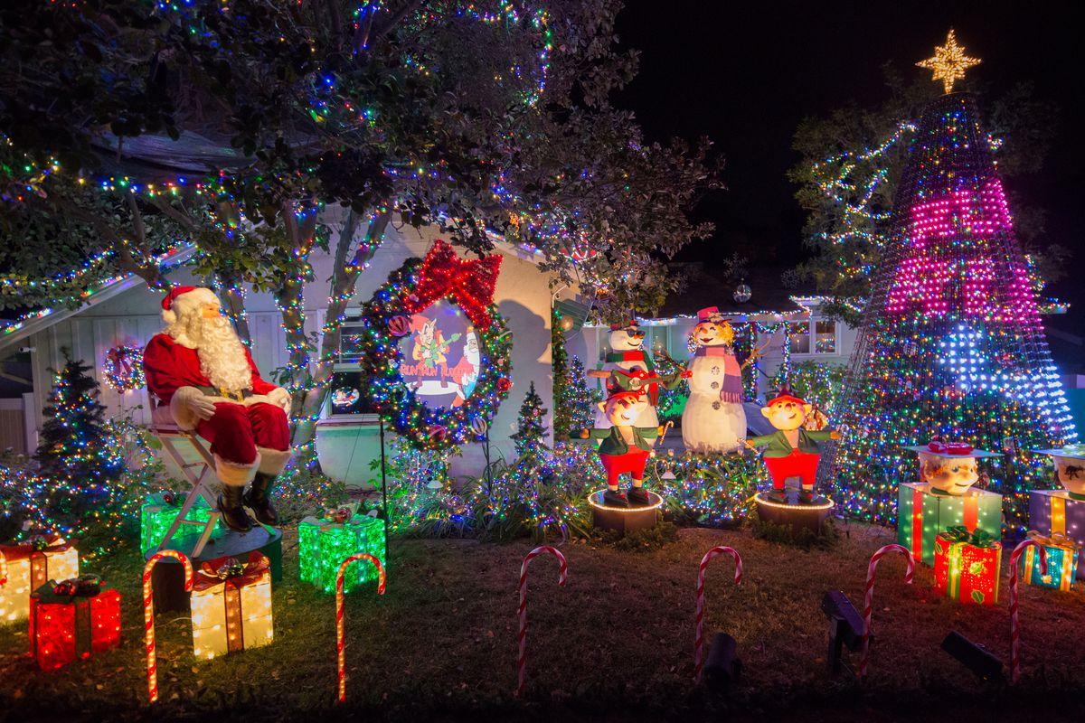 Santa and singing elves and snowmen