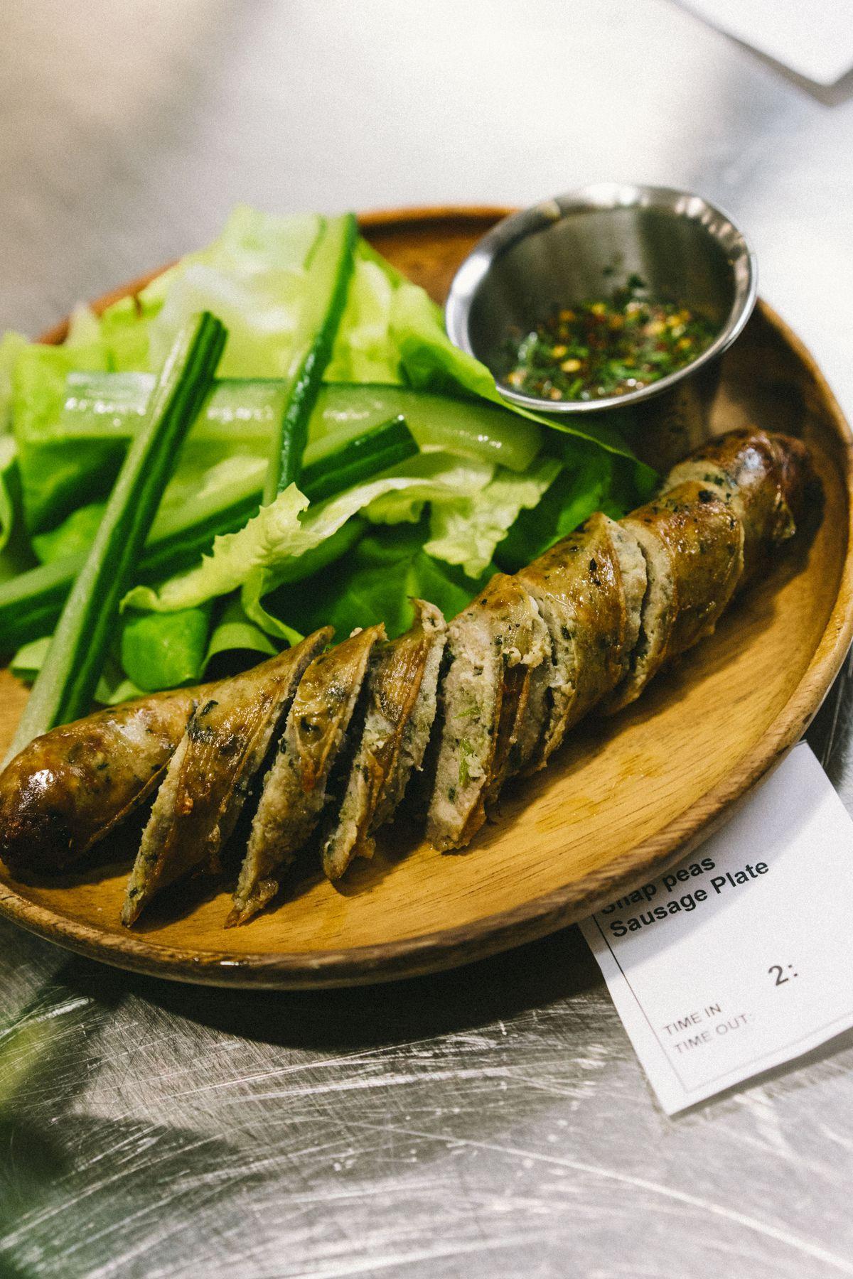 Loro's green curry pork sausage plate