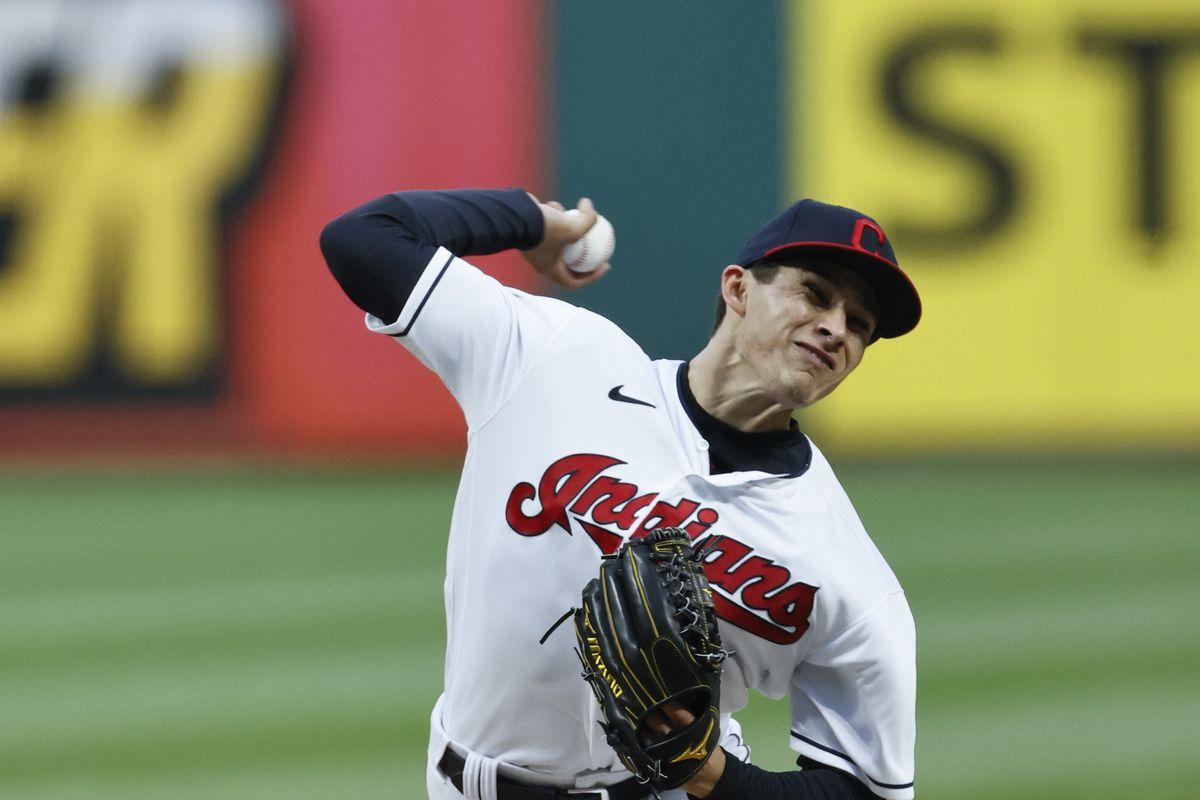 Starting pitcher Eli Morgan #49 of the Cleveland Indians pitches against the Toronto Blue Jays during the first inning at Progressive Field on May 28, 2021 in Cleveland, Ohio.