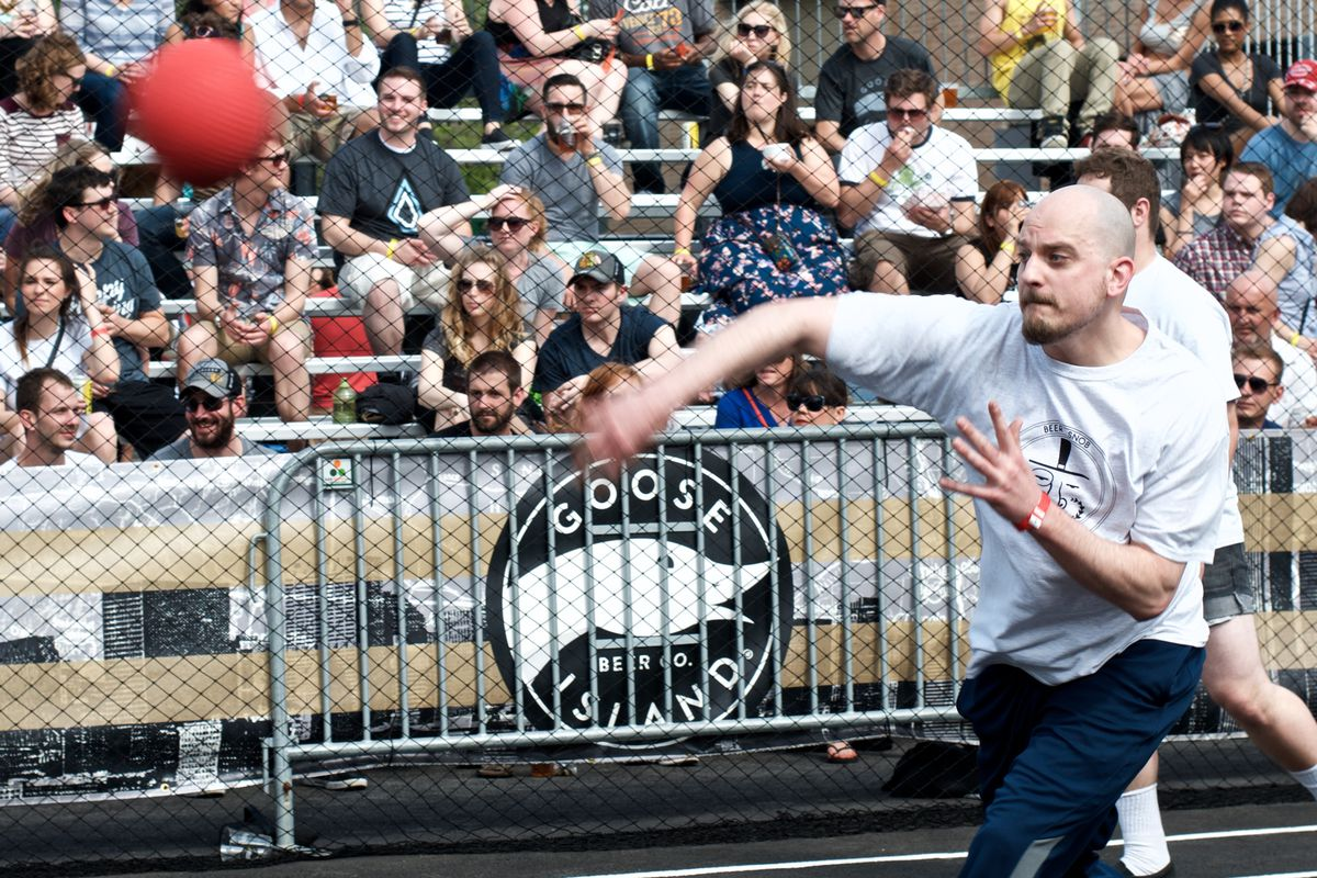 The dodgeball tournament for the 2015 Goose Island Sunday Funday at CCBW.