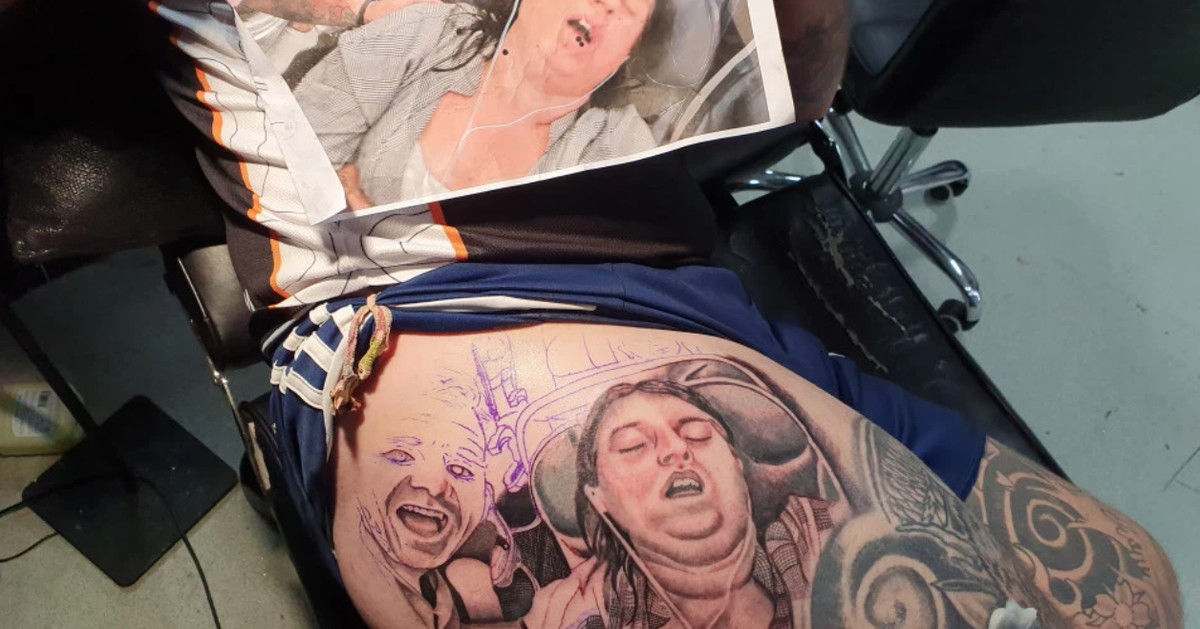Man, Lucky To Be Alive, Tattoos Photo Of His Snoring Wife On His Leg - EpicNews