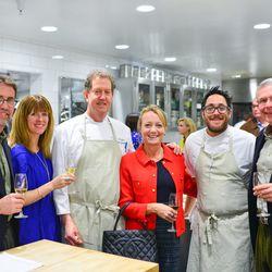Checkerboard Vineyard team (Stephen Martin, Martha McClellan, and Dennis O'Neil) with Tim and Nancy Cushman and Chris Kostow.