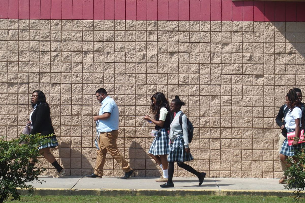 Aug. 12, 2019 first day of school Shelby County Schools charter school walking from school dismissal About 1,000 middle and high school students are enrolled at Memphis Business Academy's campus in Frayser.