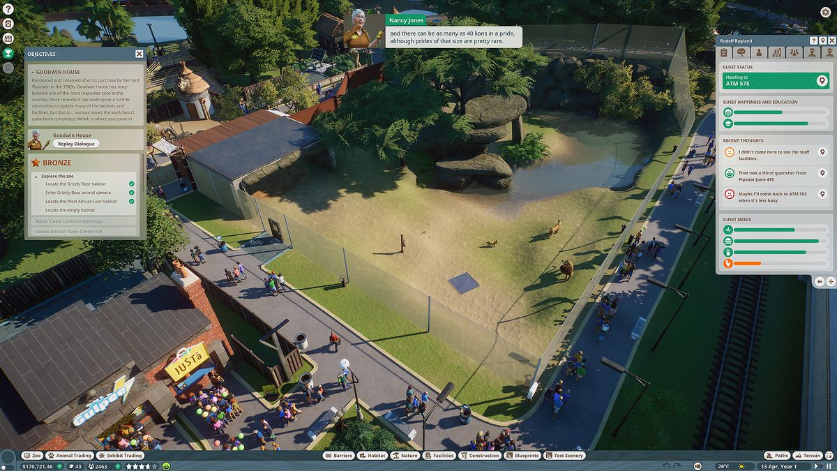 objectives in Planet Zoo's career mode