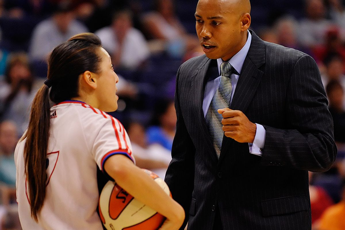 Phoenix Mercury Head Coach Corey Gaines explains his decisions in game 1 of the team's playoff series which Phoenix lost 92-91 to the San Antonio Silver Stars. <em>Photo by Max Simbron </em>