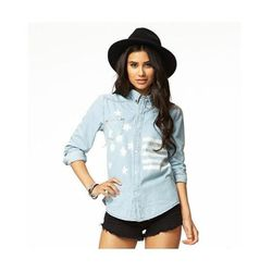 """<b>Forever 21</b> <a href=""""http://www.forever21.com/Product/Product.aspx?Br=F21&Category=top&ProductID=2074862338&VariantID="""">Rustic American Flag Denim Shirt</a> in Light Denim, $29.80"""