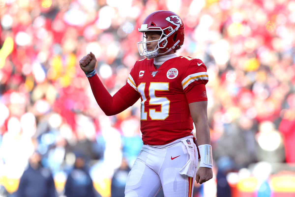 Patrick Mahomes of the Kansas City Chiefs reacts after a touchdown in the first quarter against the Tennessee Titans in the AFC Championship Game at Arrowhead Stadium on January 19, 2020 in Kansas City, Missouri.