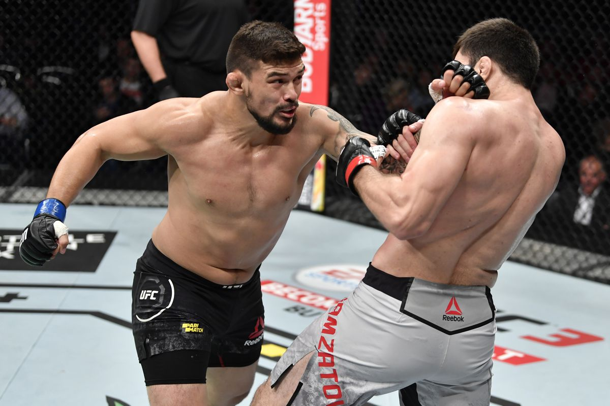 Klidson Abreu of Brazil punches Shamil Gamzatov of Russia in their light heavyweight bout during the UFC Fight Night event at CSKA Arena on November 09, 2019 in Moscow, Russia.