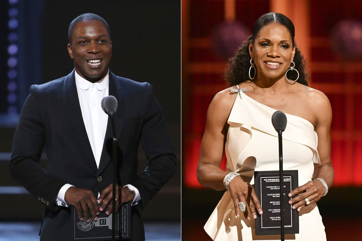Leslie Odom Jr. (left) presents an award at the Tony Awards in New York on June 10, 2018; and Audra McDonald presents an award at the Tony Awards in New York on June 9, 2019. The two actors will host this year's ceremony event on Sept. 26.