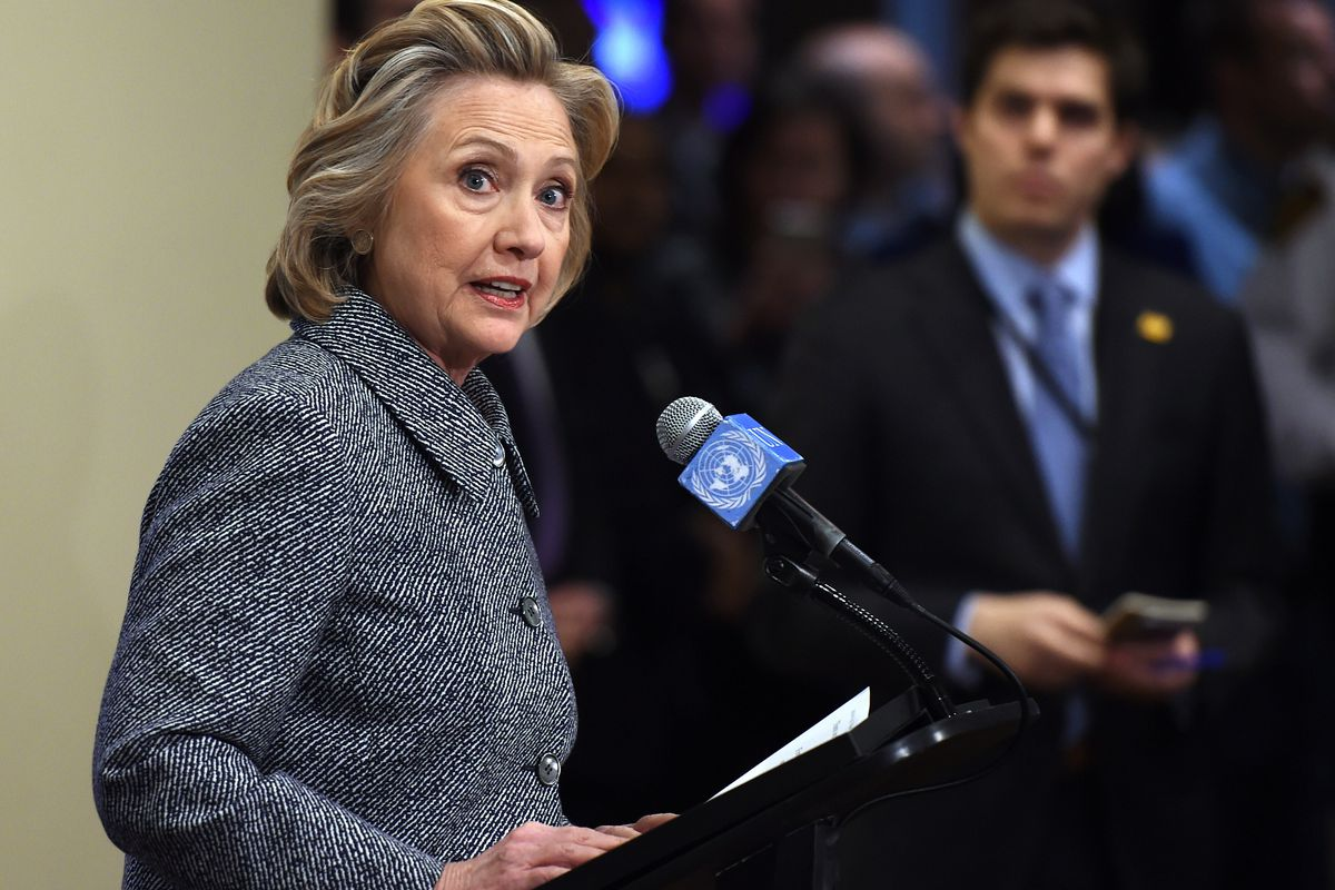 Clinton, at Tuesday's press conference.