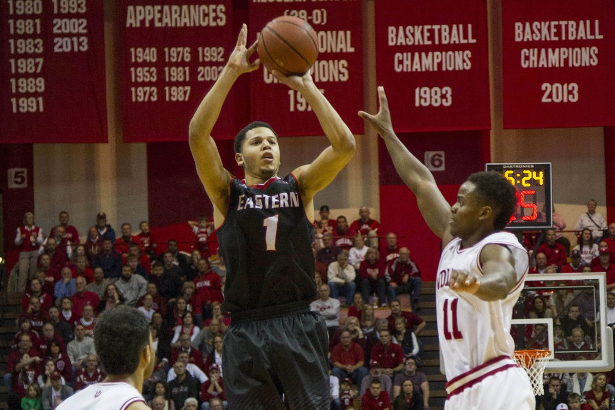 Harvey rises and fires in Eastern's win at Indiana earlier this season.