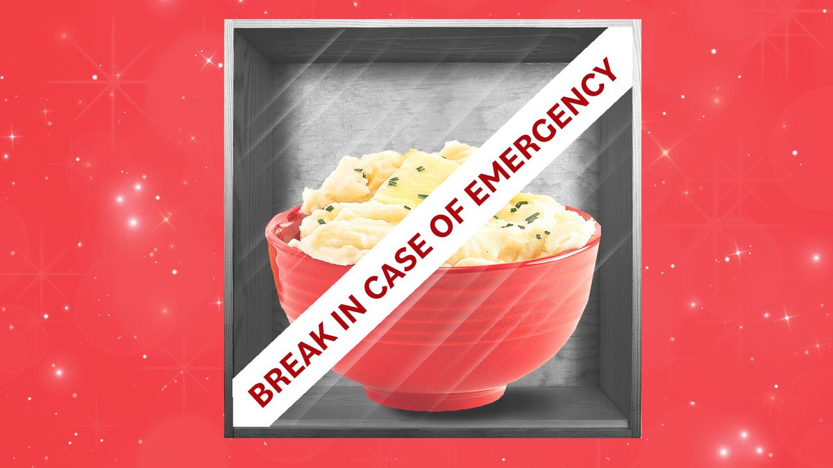 """Bowl of mashed potatoes behind glass in a case that reads """"Break in case of emergency."""""""