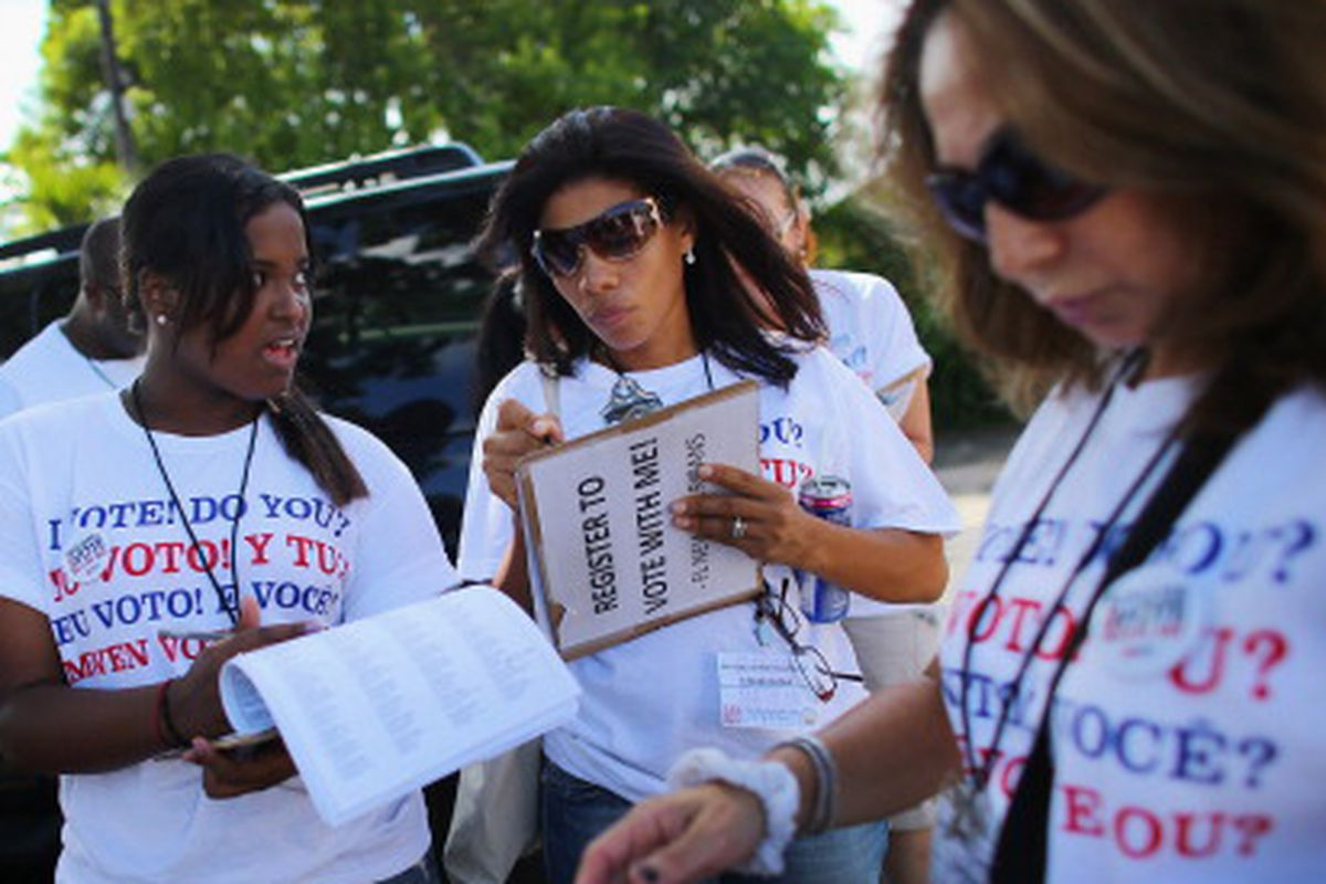 Members of a pro-immigration group in Florida canvass voters in 2012. Will they be willing to follow up in 2014?